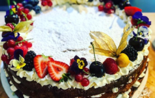 Full Victoria sponge with fruit and cream