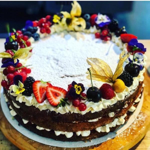 Full Victoria sponge with fruit and cream